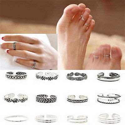 12pcs Celebrity Jewelry Retro Silver Adjustable Open Toe Ring set Finger Foot XJ