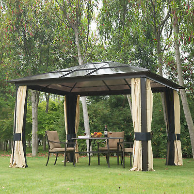12'x10' Outdoor Patio Canopy Party Gazebo Shelter Hardtop w/ Mesh and Curtains