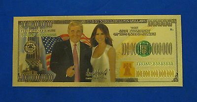 45TH President Donald Trump (Donald & Melania) 24K GOLD PLATED 100 TRILLION BILL