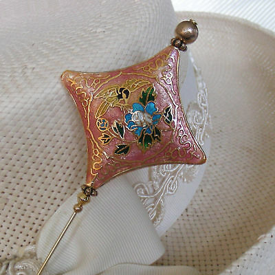 PINK & GOLD CLOISONNE PILLOW with BIRD & FLOWERS HATPIN