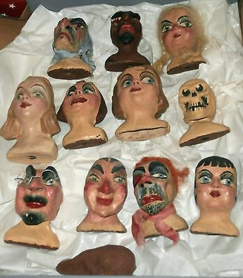 estate 1930s paper mache 10  CHARACTER PUPPETS  DOLLS  HEAD  ! JUST GREAT