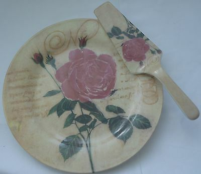 Un-used. Cake Plate and Server Roses Old World French Shabby Chic New Condition