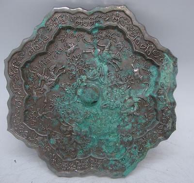 Chinese Bronze Silver 'Mirror' - Oriental Hunters on Horseback - 19cm Diameter