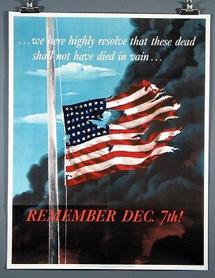 Vintage Original Dec. 7th. Pearl Harbor Poster, 22x28 inches, American Flag, Ex