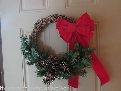 """Christmas Wreath 16"""" pine cones fir branches red ribbon crafters"""