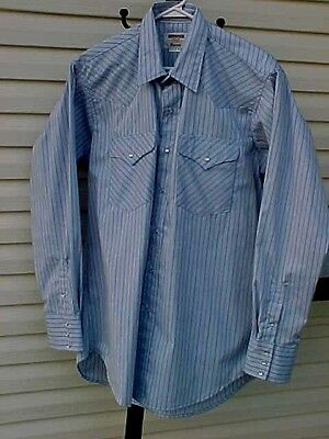 NEW Mens 16.5 X 34  Western Shirt blue thin black red stripes Chest 50 Length 33