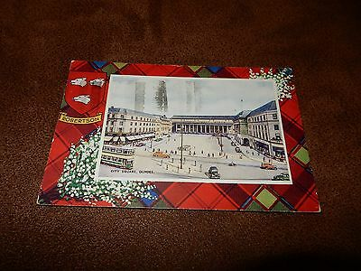 Valentine Tartan bordered postcard - Clan Robertson - City Square Dundee - Angus