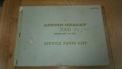 Bmc Akd1151 Austin Healey 3000 Mki Ii,series Bn7,bt7, Service Parts List Manual
