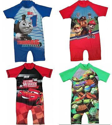Boys Paw Patrol, Cars, Thomas Tank Sunsuit Swimsuit Swimwear Ages1.5 to 5 Yrs