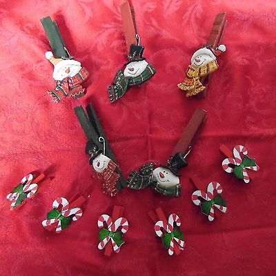"""5 Snowman Oraments, Heads On Clothespins 4"""" + 6 Sm. Candycane Cp. Orn.2"""""""