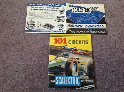 SCALEXTRIC 101 CIRCUITS BOOK + RACING CIRCUITS 3rd EDITION LEAFLET VINTAGE 1960s