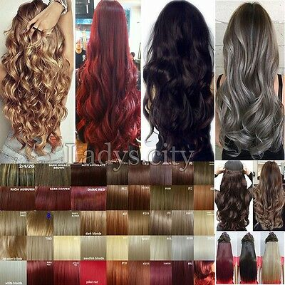 100% Natural 120-200g Clip in Full Head Hair Extensions Real Thick As human Hair