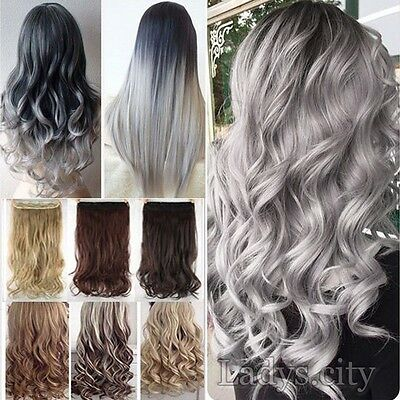 UK Deluxe Thick Clip In 100% as Real Human Hair Extensions Full Head Ombre Hair