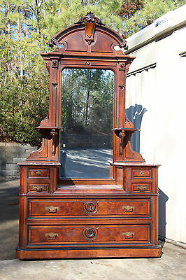 Gorgeous Tall Burl Walnut Victorian Renaissance Marble Top Drop Front Dresser