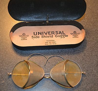 1912~Willson Goggles~Amber Glass Side Shield Motorcycle Safety Steampunk