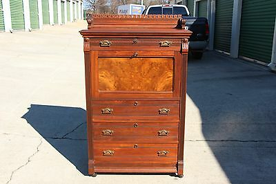Superb Burl Walnut Victorian Four Drawer Tall Chest Dresser with Drop Front Desk