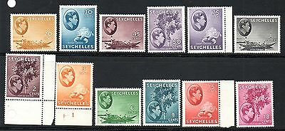 SEYCHELLES 1942 ordinary paper issue complete to 1R, unused no gum