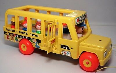Vintage Fisher Price Yellow School Bus - No 192 - With People