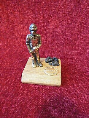 Vintage British Mining & Colliery Collection Brass Miner Real Coal On Wood Base