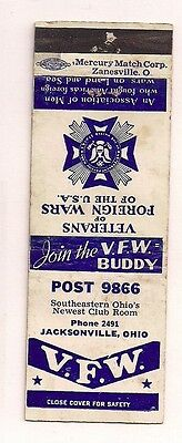VFW Post # 9866 Jacksonville OH Athens County Matchcover 011017