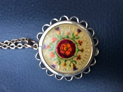 Two Shillings  Coin Pendant  Enamel 1965