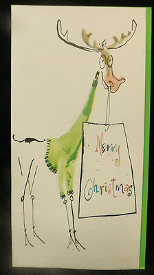 #1214 Vintage 1960s Goofy Reindeer in Green Sweater Christmas Greeting Card