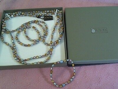 New In Box Honora Freashwater Pearl Necklaces' With 3 Matching Bracelets Nice !