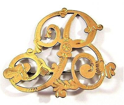 """Antique Victorian Chased Gold Filled Ornate Letter Initial """" B """" Brooch Pin Big"""