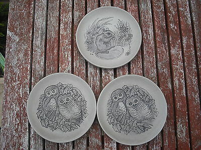 3 x Poole Pottery Animal Dishes/ Plates - Barbara Linley Adams