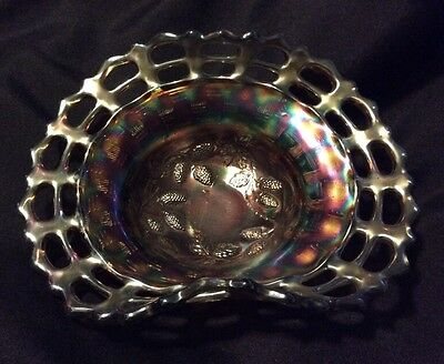 Beautiful Vtg Fenton Carnival Glass Bowl Beautiful Delicate Iridescence Pierced