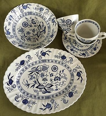 """Lot 6 Pc. J&G MEAKIN England BLUE NORDIC: Lg. PLATTER; 8 3/8"""" BOWL; CUP & PLATE"""