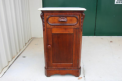 Walnut Victorian Renaissance Revival Marble Top Nightstand Half Commode Cabinet