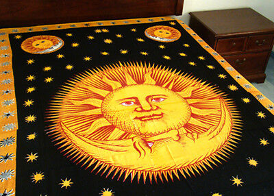 "Sun-Moon-Stars Tapestry Celestial Wall Hanging- Light Bedspread 72"" x 108"" NEW"
