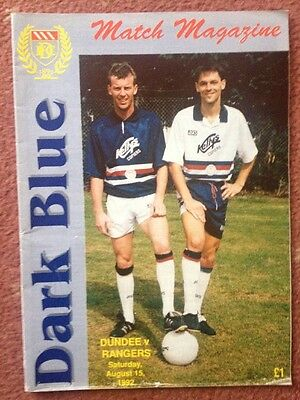 Dundee FC v Rangers 15/8/1992 match programme Premier Division