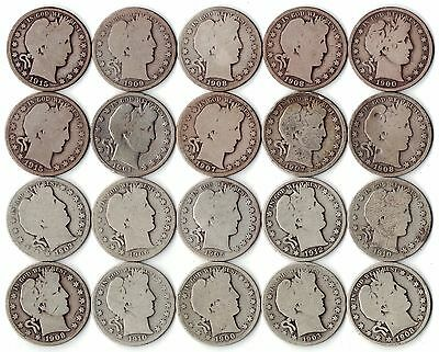 $10 Face Value - Barber Half Dollars U.S. 90% Silver 50C Lot - 20 Coin Roll
