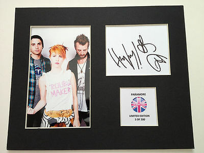 Limited Edition Paramore Fully Signed Mount Display AUTOGRAPH
