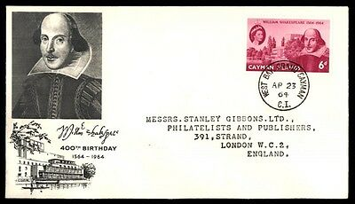 1964 William Shakespeare 400th birthday cachet first day cover Grand Cayman