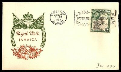 Jamaica Fruit & Flags Green & Brown 1953 Royal Visit Cacheted FDC