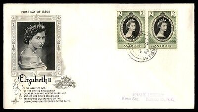Antigua QEII Coronation Pair Art Craft 1953 Cacheted First Day cover FDC
