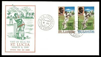 St Lucia 1968 Visit of MCC Cachet First Day Cover FDC