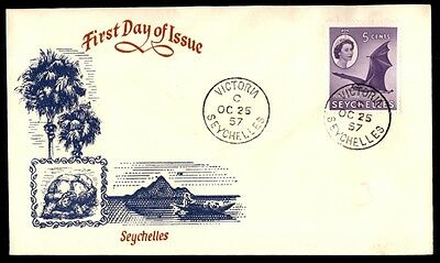 1957 Seychelles illustrated cachet first day cover single franked