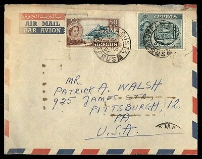 1957 Cyprus airmail colorful franking on cover to Pittsburgh US