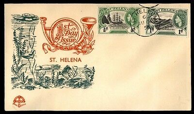 St Helena 1953 QEII Pictorials Green & red Cacheted First Day Cover