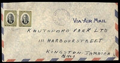 Grenada St Andrews to Jamaica 1952 6c Pair on airmail cover