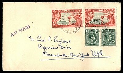 Jamaica Cross Roads to US new York 1953 Multifranked airmail Cover