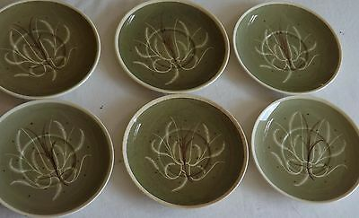 6 Saucers by Susie Cooper Green Cream Rim Lot