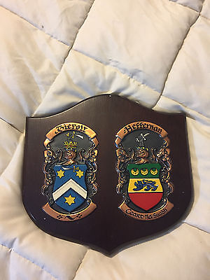 Vintage The Republic Of Ireland Wood Wooden Family Crest Plaque Wall Hanging!