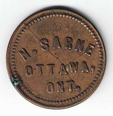 N Sarne Ottawa Ontario Good For 5 Cents In Trade Token With Large Die Breaks