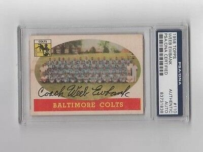 Signed Psa Dna Certified 1958 Topps Baltimore Colts Team Weeb Ewbank Head Coach