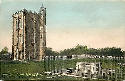 p1091 Cambuskenneth Abbey and James III tomb, Stirling, Scotland postcard RP